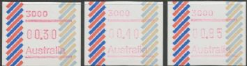Australian Framas: Barred Edge Button Set 30c, 40c, 85c: Post Code 3000 Melbourne
